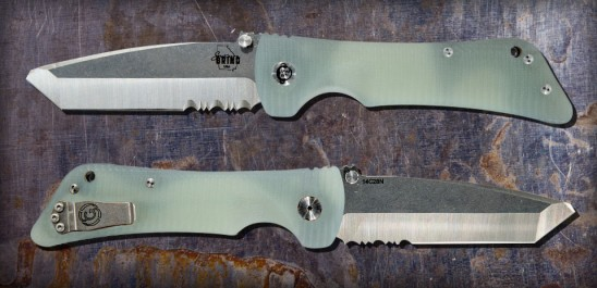 Custom Bad Monkey -G10 Jade Ghost Green-Modified Tanto-Serrated-Satin