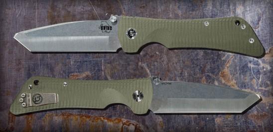 Custom Bad Monkey -G10 Green Modified Tanto, Tumbled Satin