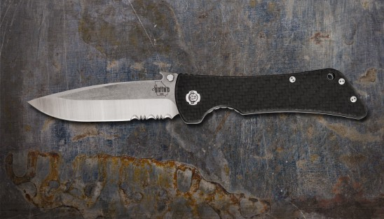 Bad Monkey Emerson Drop Point Satin Serrated w/ Carbon Fiber Handle