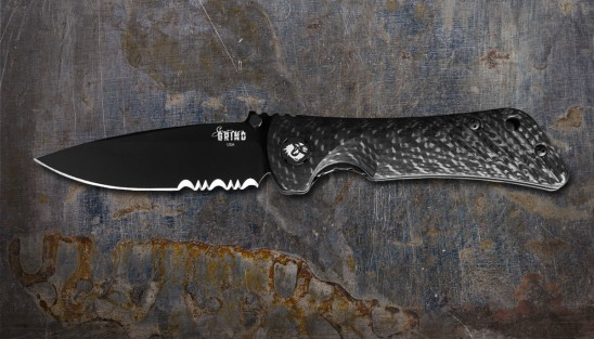 EDC knife with folding, 3.25-inch drop point serrated blade made of S35VN PVD coated steel.