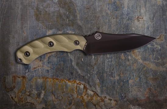 Jackal Hunting Knife - Mulit-Use, High Carbon 4.75-inch Blade - Black Blade/OD Green Handle