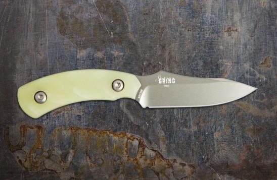 Jackal Pup Hunting Knife - Mulit-Use, High Carbon 2.8-inch Blade - Gunmetal Blade/Jade Ghost Green Handle