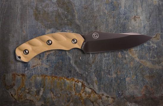 Jackal Hunting Knife - Mulit-Use, High Carbon 4.75-inch Blade - Gunmetal Blade/Desert Tan Handle