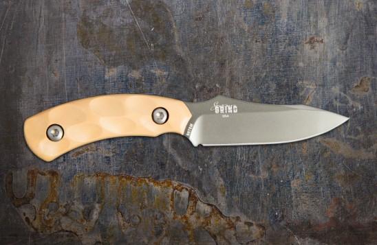 Jackal Pup Hunting Knife - Mulit-Use, High Carbon 2.8-inch Blade - Gunmetal Blade/Desert Tan Handle
