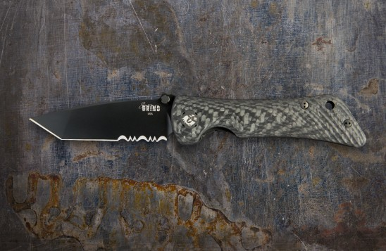 Spider Monkey Tanto Black Serrated w/ Carbon Fiber Handle