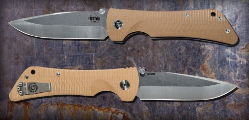 Bad Monkey Drop Point Satin w/ G10 Desert Tan Handle