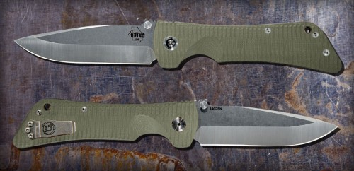 Bad Monkey Drop Point Satin w/ G10 OD Green Handle